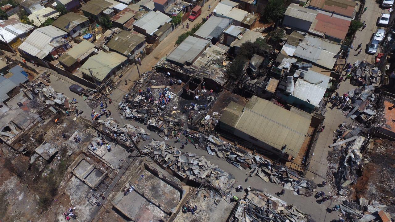 Imagen sector afectado por incendio del 02.01.2017 en comuna de Valparaíso